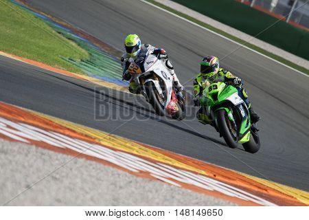 CHESTE, SPAIN - SEPTEMBER 17th: 22 Jon Purroy, 89 Juan Luis Ortiz in Open1000 during Spanish Speed Championship CEV at Cheste Circuit on September 17, 2016 in Cheste, Spain