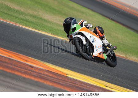 CHESTE, SPAIN - SEPTEMBER 17th: Daniel Holgado in Moto4 during Spanish Speed Championship CEV at Cheste Circuit on September 17, 2016 in Cheste, Spain