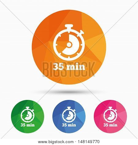Timer sign icon. 35 minutes stopwatch symbol. Triangular low poly button with flat icon. Vector