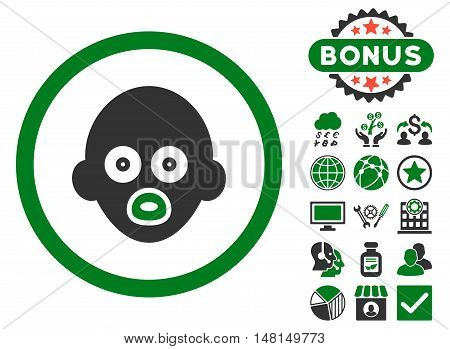 Baby Head icon with bonus images. Vector illustration style is flat iconic bicolor symbols green and gray colors white background.