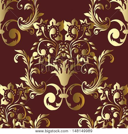Baroque damask antique dark red floral vector seamless pattern background  illustration with vintage decorative baroque medieval gold 3d flowers leaves ornaments with shadow and highlight