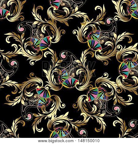 Royal elegant Baroque damask paisley antique vintage floral vector seamless pattern background illustration with medieval antique gold 3d baroque and paisley vintage flowers ornaments.