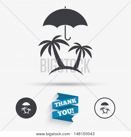 Trip insurance sign icon. Safe travel symbol. Flat icons. Buttons with icons. Thank you ribbon. Vector