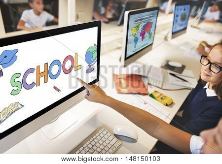 School Academic Learning Kids Graphic Concept
