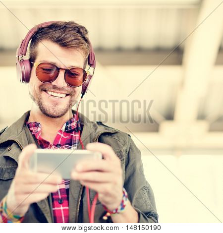 Young Man Headphone Listening Music Concept
