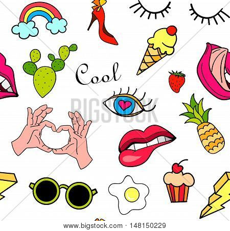 Seamless pattern with fashion patch badges. Pop art. Vector background with stickers, pins, patches in cartoon 80s-90s comic style. Lips, eyes, hearts, sun, ice cream, pizza. Vector clip-art.