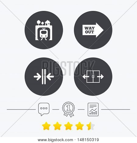 Underground metro train icon. Automatic door symbol. Way out arrow sign. Chat, award medal and report linear icons. Star vote ranking. Vector