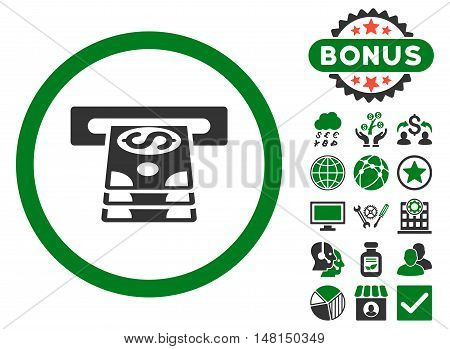 Bank Cashpoint icon with bonus pictures. Vector illustration style is flat iconic bicolor symbols green and gray colors white background.