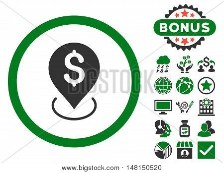 Bank Placement icon with bonus elements. Vector illustration style is flat iconic bicolor symbols green and gray colors white background.