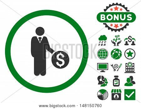 Banker icon with bonus pictogram. Vector illustration style is flat iconic bicolor symbols green and gray colors white background.