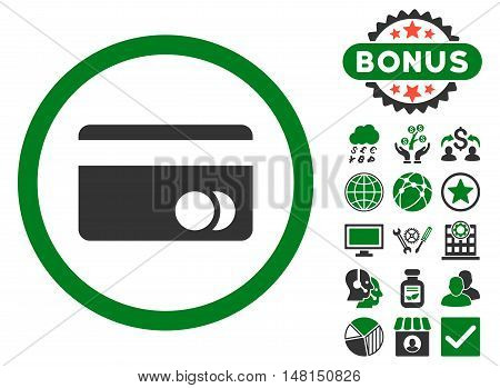 Banking Card icon with bonus pictogram. Vector illustration style is flat iconic bicolor symbols green and gray colors white background.