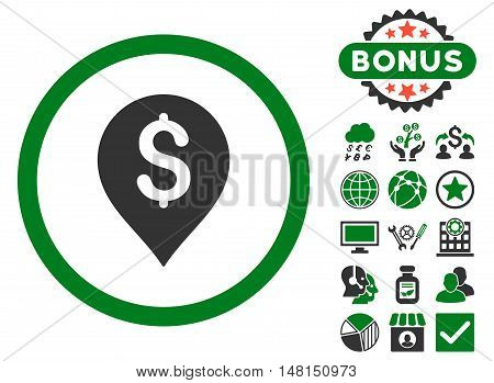 Banking Map Marker icon with bonus pictogram. Vector illustration style is flat iconic bicolor symbols green and gray colors white background.