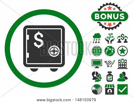 Banking Safe icon with bonus images. Vector illustration style is flat iconic bicolor symbols green and gray colors white background.
