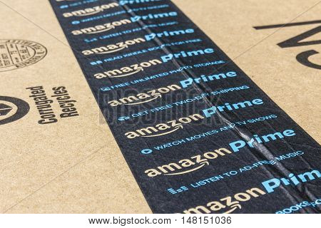 Indianapolis - Circa September 2016: Amazon Prime Parcel Package. Amazon.com is a premier online retailer V