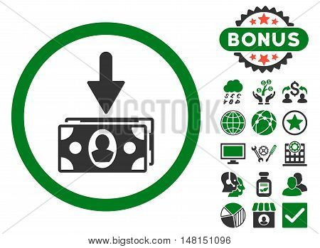 Banknotes Income icon with bonus images. Vector illustration style is flat iconic bicolor symbols green and gray colors white background.