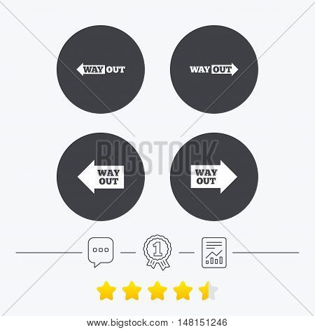 Way out icons. Left and right arrows symbols. Direction signs in the subway. Chat, award medal and report linear icons. Star vote ranking. Vector