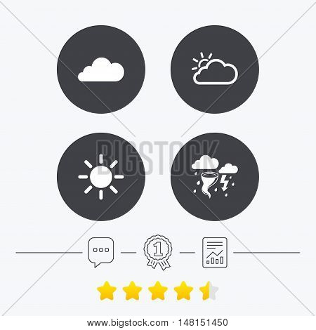 Weather icons. Cloud and sun signs. Storm or thunderstorm with lightning symbol. Gale hurricane. Chat, award medal and report linear icons. Star vote ranking. Vector
