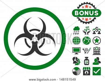 Biohazard Symbol icon with bonus elements. Vector illustration style is flat iconic bicolor symbols green and gray colors white background.