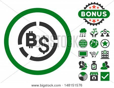 Bitcoin Financial Diagram icon with bonus pictogram. Vector illustration style is flat iconic bicolor symbols green and gray colors white background.