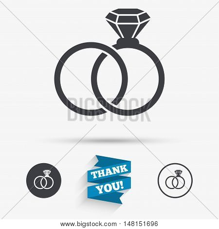 Wedding rings sign icon. Engagement symbol. Flat icons. Buttons with icons. Thank you ribbon. Vector