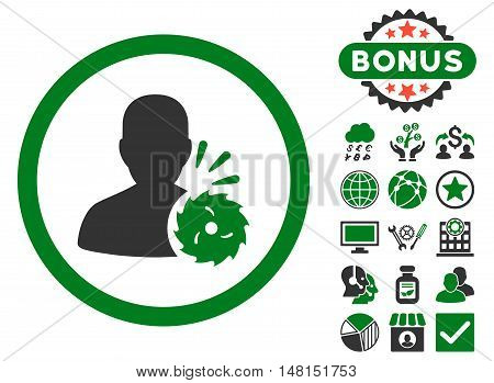 Body Execution icon with bonus pictogram. Vector illustration style is flat iconic bicolor symbols green and gray colors white background.