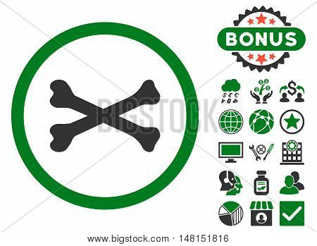 Bones Cross icon with bonus images. Vector illustration style is flat iconic bicolor symbols green and gray colors white background.