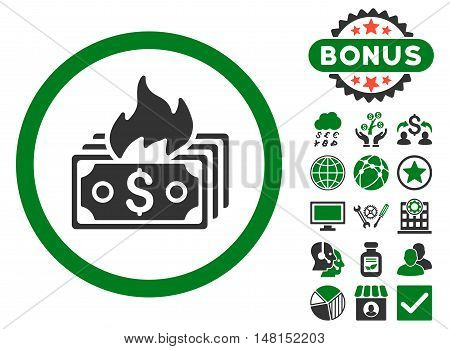 Burn Banknotes icon with bonus images. Vector illustration style is flat iconic bicolor symbols green and gray colors white background.