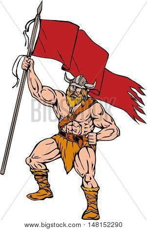 Illustration of a norseman viking warrior raider barbarian wearing horned helmet with beard holding brandishing red flag viewed from front set on isolated white background done in retro style.