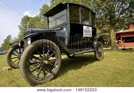 ROLLAG, MINNESOTA, Sept 1. 2016: A 1922 Ford Center Door Model T is displayed at the West Central Steam Threshers Reunion in Rollag, MN attended by 1000's held annually on Labor Day weekend.