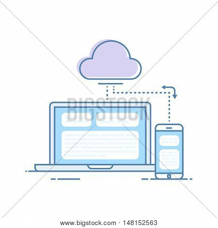 The process of synchronizing data from a mobile phone and a laptop. Storing data in the cloud storage. Vector illustration in a linear style isolated on white background