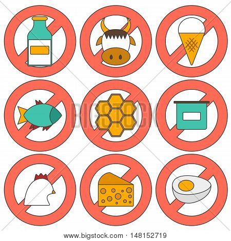 Vector illustration with modern cartoon flat icons with products containing animal protein and prohibited for vegans: milk cheese egg yogurt fish ice cream red meat honey poultry meat