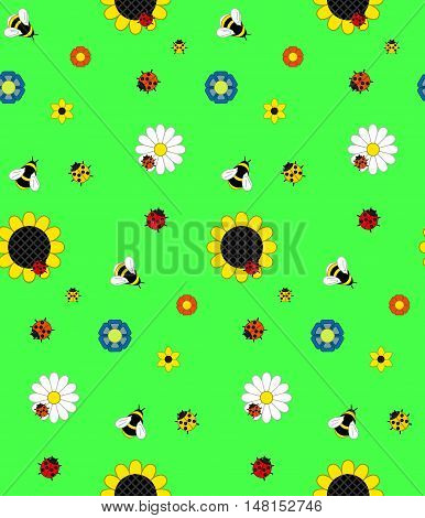 Background Of The Five Kinds Of Flowers, Bumble Bees, Bees And Ladybirds On A Green Meadow.