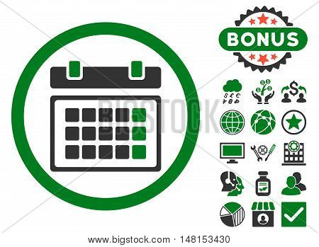 Calendar icon with bonus symbols. Vector illustration style is flat iconic bicolor symbols green and gray colors white background.