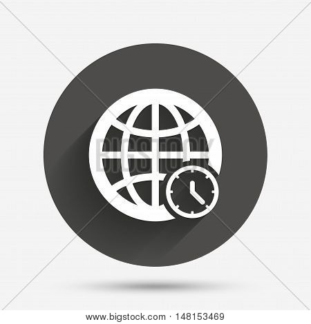 World time sign icon. Universal time globe symbol. Circle flat button with shadow. Vector