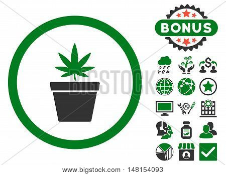 Cannabis Pot icon with bonus pictogram. Vector illustration style is flat iconic bicolor symbols green and gray colors white background.