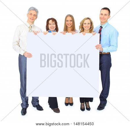 group of business people holding a banner ad isolated on white background