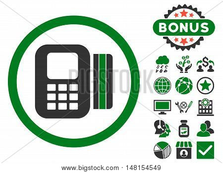 Card Processor icon with bonus pictures. Vector illustration style is flat iconic bicolor symbols green and gray colors white background.