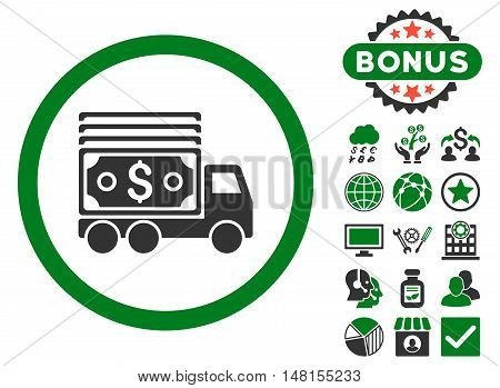 Cash Lorry icon with bonus pictures. Vector illustration style is flat iconic bicolor symbols green and gray colors white background.