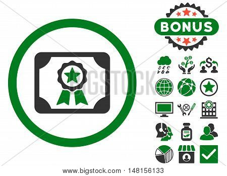 Certificate icon with bonus symbols. Vector illustration style is flat iconic bicolor symbols green and gray colors white background.