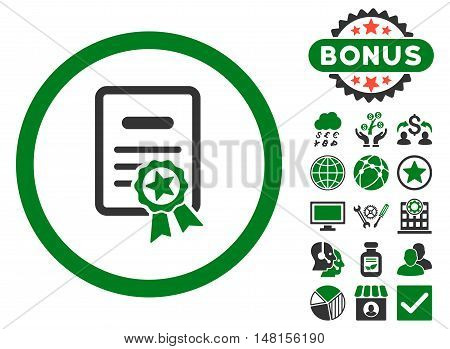 Certified Diploma icon with bonus elements. Vector illustration style is flat iconic bicolor symbols green and gray colors white background.