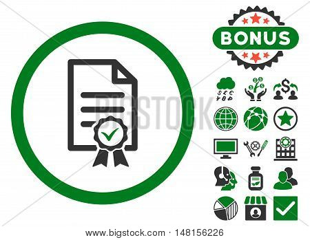 Certified icon with bonus pictures. Vector illustration style is flat iconic bicolor symbols green and gray colors white background.