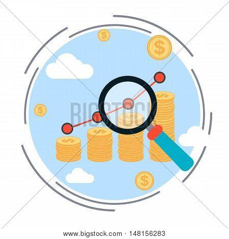 Financial diagram, business success, profit increase, business statistics flat design style vector illustration