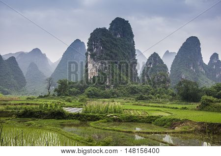 The beautitul karst rural scenery in spring,Guilin China