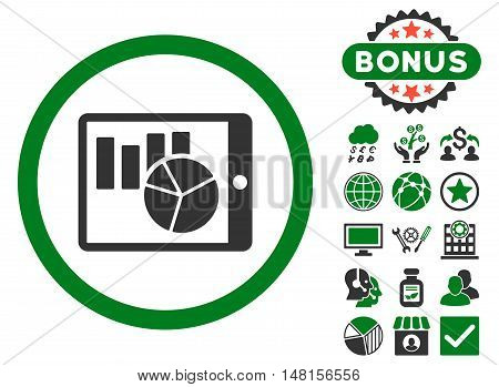 Charts on Pda icon with bonus symbols. Vector illustration style is flat iconic bicolor symbols green and gray colors white background.