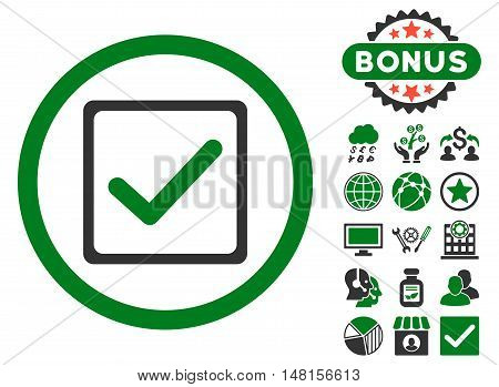Checkbox icon with bonus pictogram. Vector illustration style is flat iconic bicolor symbols, green and gray colors, white background.