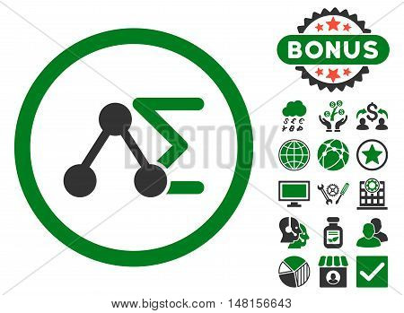 Chemical Formula icon with bonus pictogram. Vector illustration style is flat iconic bicolor symbols, green and gray colors, white background.