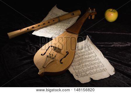 Renaissance Violin (rebec) And Alto Recorder