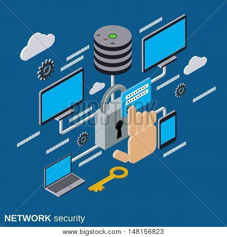 Network security, data protection flat isometric vector concept illustration