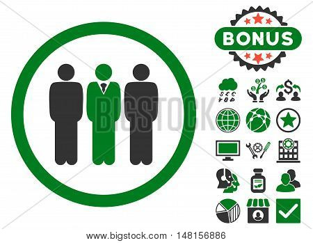 Clerk Staff icon with bonus images. Vector illustration style is flat iconic bicolor symbols, green and gray colors, white background.