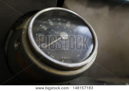 MALAYSIA - August 15, 2016: A classic car Mini Austin 850 speedometer is photographed in Malaysia, August 15, 2016.